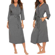 2019 newWomen's 4/3 Sleeve V-neck Lightweight With Belt Long Robe Bathrobe Sleepwear_XXL
