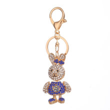 Fashion Rabbit Shape Keychain Lady Bag Backpack Pendant Key Chain Decoration blue
