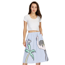 Women Sweet Coconut Tree Print Striped Skirt