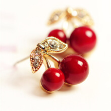 Jantens New Fashion Cute Lovely Red Cherry Earrings Rhinestone Leaf Bead Stud Earrings Red