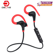 DELIVE Bluetooth V4.1 Earphone Wireless Headset Sport Fitness Ear Hook With Mic for iPhone Android Black-red