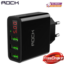 ROCK LED Display 3 USB Charger, Universal Mobile Phone USB Charger Fast Charging Wall Charger For iPhone Samsung Xiaomi Max 2.4A