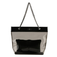 [LESHP]Womens Jelly Clear Transparent Tote PU Leather Chain Bag Shoulder Bags Handbag Black
