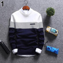 Farfi Men's Autumn Casual Strip Color Block Knitwear Jumper Pullover Sweater