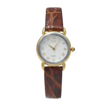ALBA Jam Tangan Wanita - Brown Gold Silver White - Leather Strap - ATA90H