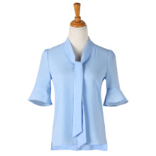 BestieLady W0017 Plus Flare Sleeves Ties Front Shirt