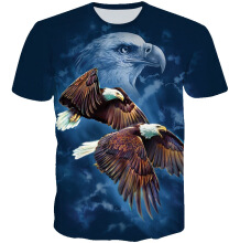 SESIBI M~3XL 3D Fashion Shirts Women Men Cool Short Sleeve Tees Lovers Tops Printing Blouse -Fly Eagles -
