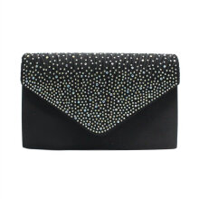 [LESHP]Women Clutch Bag Party Night Club Evening Charms Solid Color Female Black