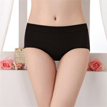 Women Solid Color Briefs Middle-waisted Hip-lifting Pure Cotton Panties black one size