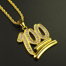 Farfi Fashion Men 100 Number Pendant Necklace Hip-hop Rhinestone Chain Jewelry Gift Gold