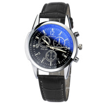 PEKY Luxury fashion imitation leather men blue glass quartz analog watch casual cool watch