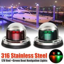 Farfi Red + Green Stainless Steel 12/24V Marine Boat Yacht LED Navigation Light Red + Green