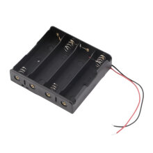 [COZIME] Batteries Storage Box Battery Holder For 4 PCS 18650 Batteries With Wire Leads black