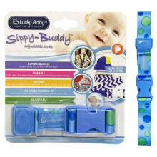 Lucky Baby Sippy Buddy Adjustable Strap - Blue Dot