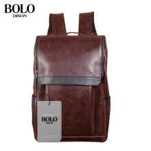DISON BOLO Outdoor Travel Backpack PU Leather Shoulder Pack Large Capacity Male Brown