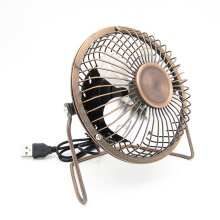 [COZIME] 4-Inch USB Cooling Fan Small 4 Blades Desk USB Cooler Super Mute Car USB Fan Bronze1