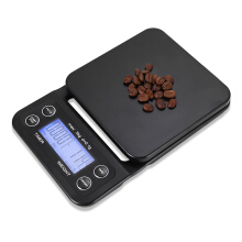 Digital Kitchen Food Coffee Weighing Scale + Timer with Back-lit LCD Display  - Black