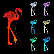 Farfi 3D Flamingo Bird Bedroom Color Change LED Night Light Desk Lamp Decors as the pictures