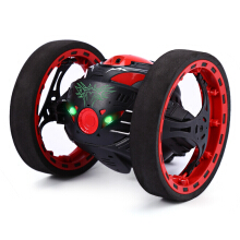 Jantens Mini Cars Bounce Car PEG SJ88 2.4GHz RC Car with Flexible Wheels Rotation LED Light Remote Control Robot Car Toys