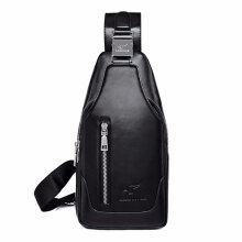 COZIME Fashionable Men Leather Casual Single Shoulder Chest Crossbody Bag Waist Pack Black