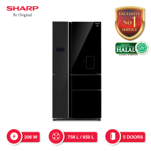 SHARP Kulkas Multi-Pintu [758 L] SJ-IFX95PDG-BK - Hitam [SHARP EXCLUSIVE SERVICE]