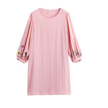 INMAN 1881101204 Dress 2018 New Products Women Spring Clothes Round Neck Loose Embroidered Dress