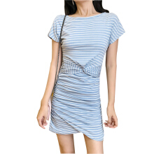 Jantens Striped skinny dress summer new fashion pencil dress female short-sleeved O-neck casual T-shirt dress Blue One size