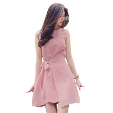SiYing Korean version of the solid color bandwidth loose round neck sleeveless ladies dress