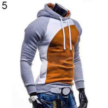 Farfi Men Spring Hoody Ourdoor Slim Fit Splicing Color String Casual Pullover Top
