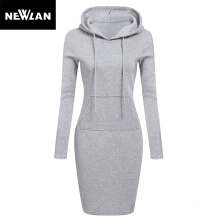 Newlan Autumn Winter Warm Sweatshirt Long-sleeved Dress Woman Clothing Hooded Collar Pocket Design Simple Woman Dress