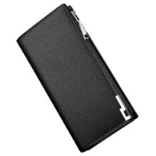 AIM 16MW0041 Men's leather Cowhide two fold section leather card holder wallet multi-function Long wallet-Black