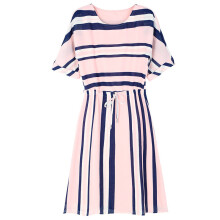 SiYing fashion ladies round neck dress Korean version of the slim striped A-line dress