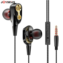JOYSEUS Double Unit Stick In Ear Earphone Bass Subwoofer Headphone for phone DJ mp3 Sport Earphone Headset Earbuds auriculares Black
