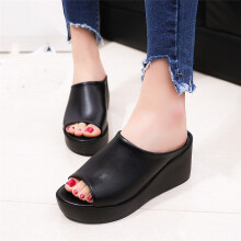 Jantens Hot Sale Women Summer Fashion Leisure shoes women platform wedges Fish Mouth Sandals Thick Bottom