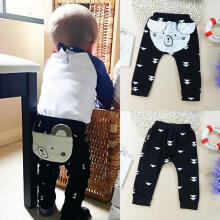 Farfi Baby Kids Boys Girls Autumn Trousers Toddler Cartoon Pig Print Cotton Soft Pants