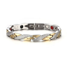 [OUTAD] Fashionable Twisted Healthy Magnetic Bracelet Therapy Magnets Bracelets Silver & Gold