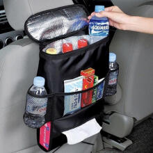 Farfi Black Car Seat Back Heat-Preservation Organizer Multi-pocket Travel Storage Bag Black