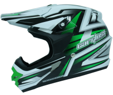 Helm Motocross Cargloss MXC Green - Super Whity White