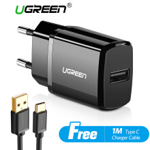 UGREEN Charger USB Charger for Handphone + Free 1 Meter Type C Fast Charging Cable Black