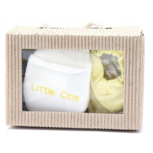 Cribcot Gift Set Booties Plain Baby Yellow & Mitten Little One White Yellow