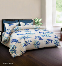 KING RABBIT Bedcover Single Motif Bloam - Biru/ 140 x 230cm Blue