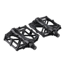 [kingstore]Pair Aluminum Alloy Flat Platform Bicycle Cycling Riding Pedals Treadle Black Black