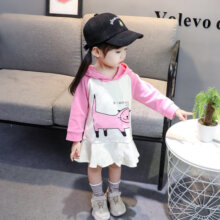 Cartoon Cat Kids Girls Outfits Hooded Pullover Dress Fashion Princess Dress 130cm