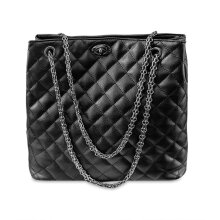 [LESHP]European American Fashion Women Diamond Lattice Handbag Chain Shoulder Bag Black