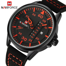 NAVIFORCE 9074 Luxury Brand Men Army Military Watches Men's Quartz Date Clock Man Leather Strap Sports Wrist Watch Red