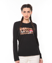 DAMN I LOVE INDONESIA Tee Sign Long Black Foil Rosegold Female