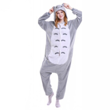 SESIBI S~XL Women Man Flannel Cartoon Lingerie Animal Siamese Pajamas Couples Home Clothes -Totoro