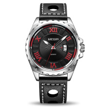 PEKY Megir ML1019G Creative Fashion Quartz Sport Watch Men Black PU Strap Wristwatch
