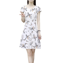 SiYing fashion ladies round neck dress Korean version of the long section Slim printed A word skirt