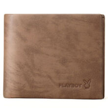 Playboy PAA5623-6Z Men's multi-functional wallet Cowhide leather cross section multi-card casual men's wallet-brown